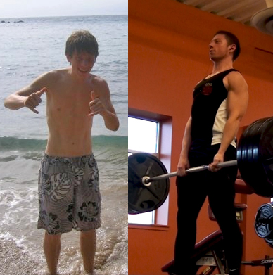 The author with a 50 lbs difference in body mass