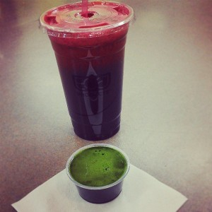 Extremely high nutrient density found in this fresh Carrot/Beet/Ginger/Parsley juice and Wheatgrass shot.