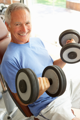 Exercise dumbbells older man fitness
